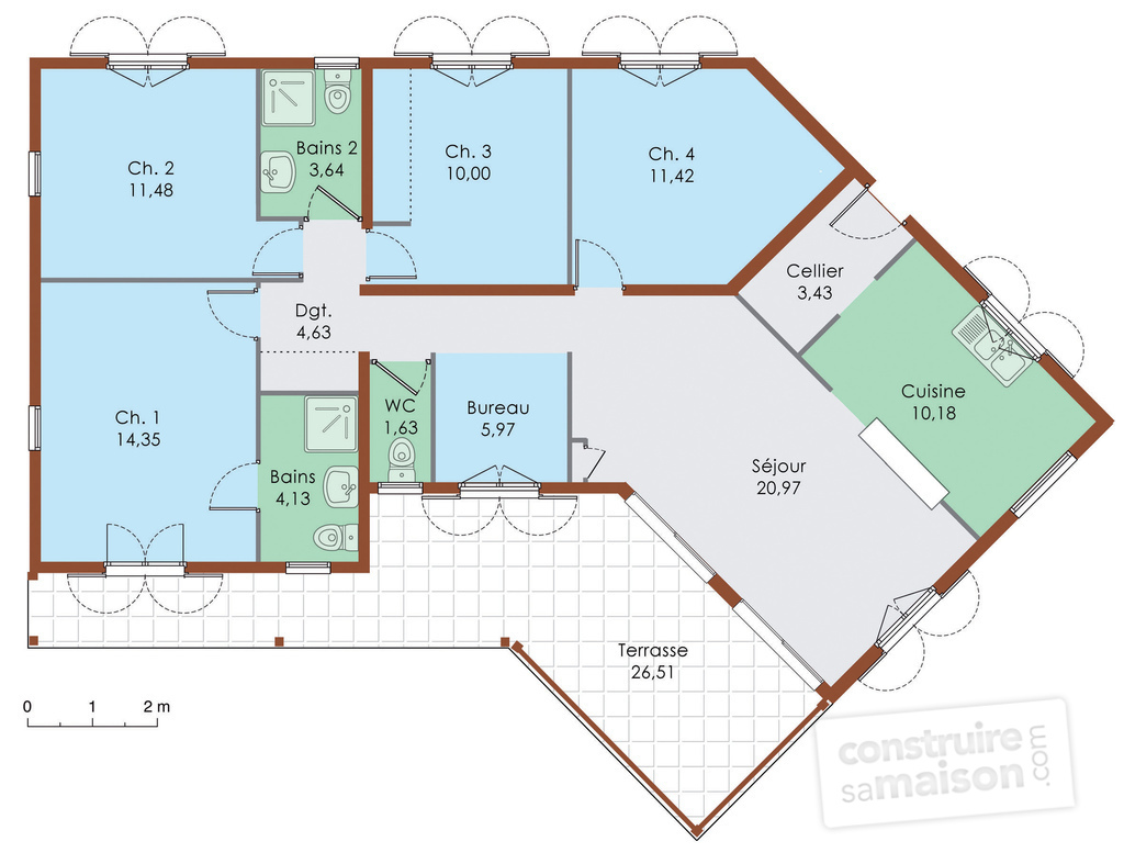 Plan de maison plain pied 4 chambres en v for Plan maison contemporaine en u