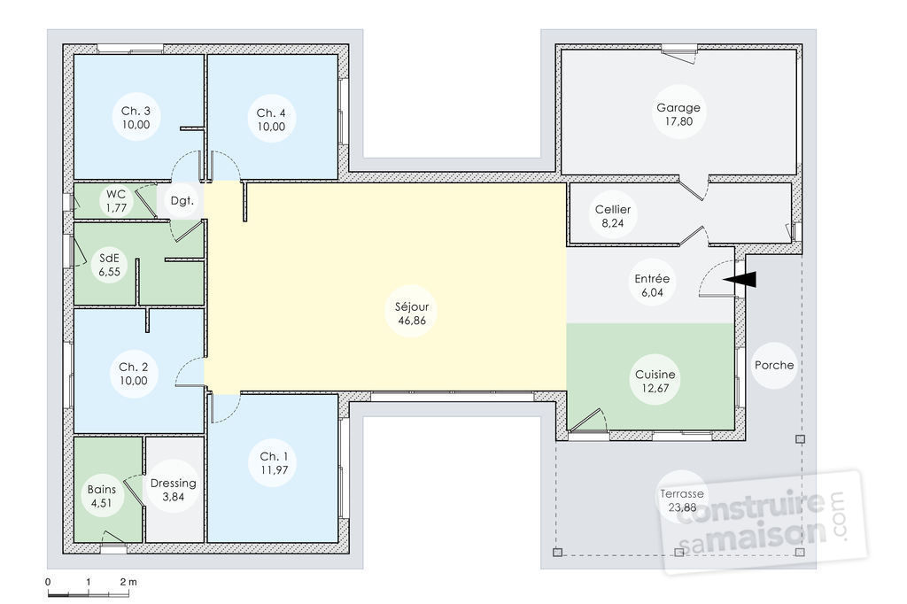 Plan de maison contemporaine en u np18 jornalagora for Maison en u avec garage