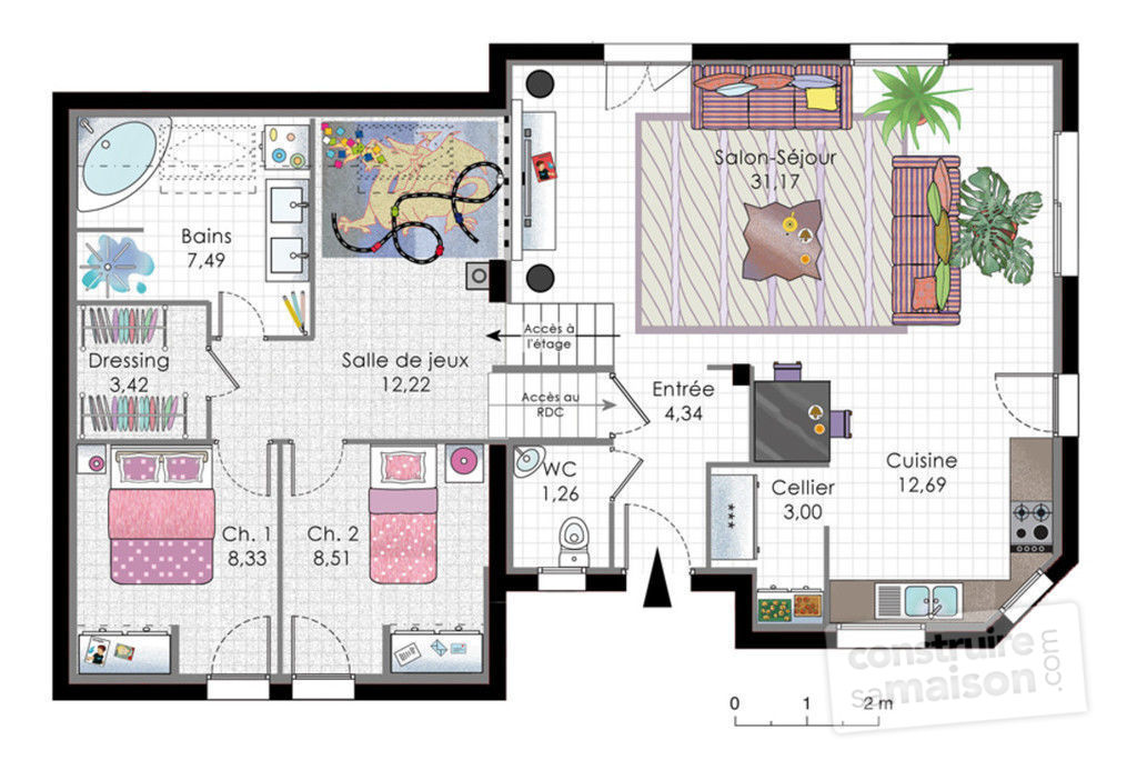 plan maison contemporaine demi niveau