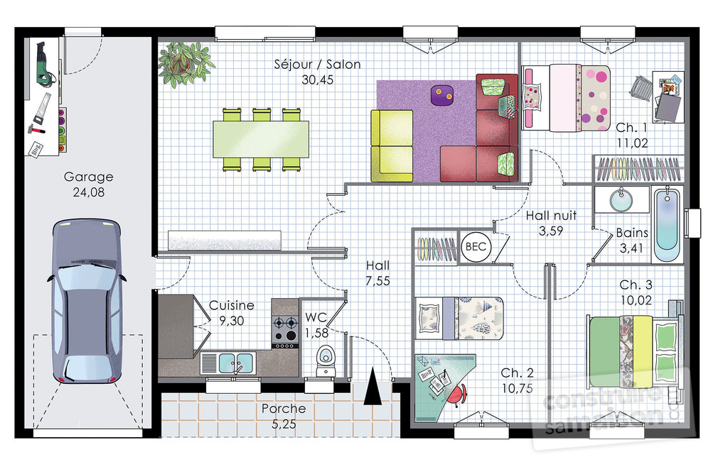Pavillon de plain pied d tail du plan de pavillon de for Plan maison contemporaine bbc