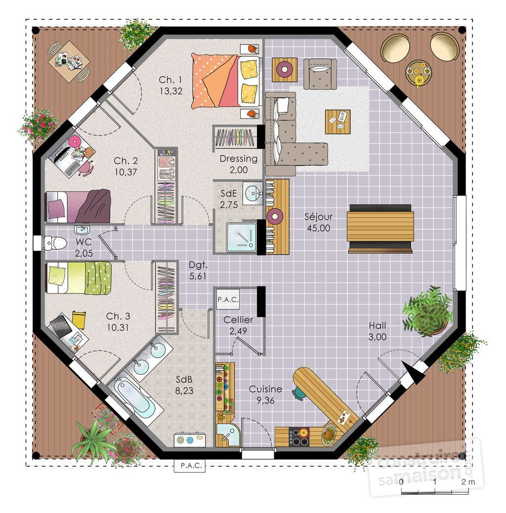 Maison octogonale d tail du plan de maison octogonale for Plan maison en l plain pied gratuit
