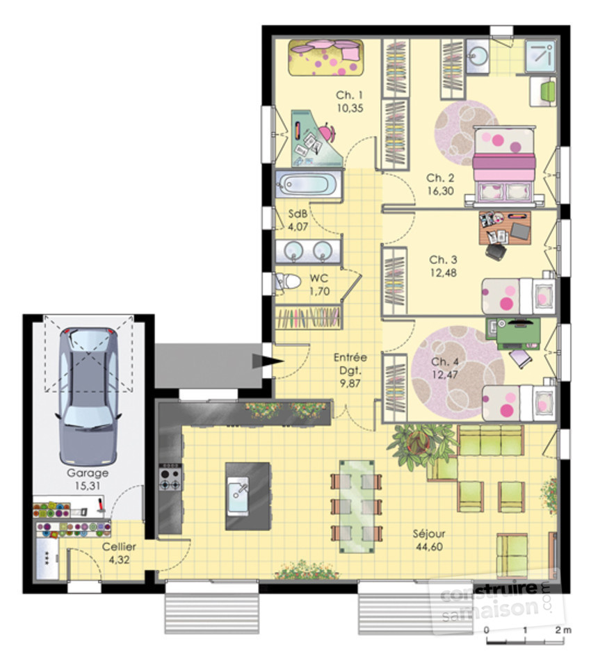 Maison de plainpied d tail du plan de maison de for Plan maison plain pied 50m2