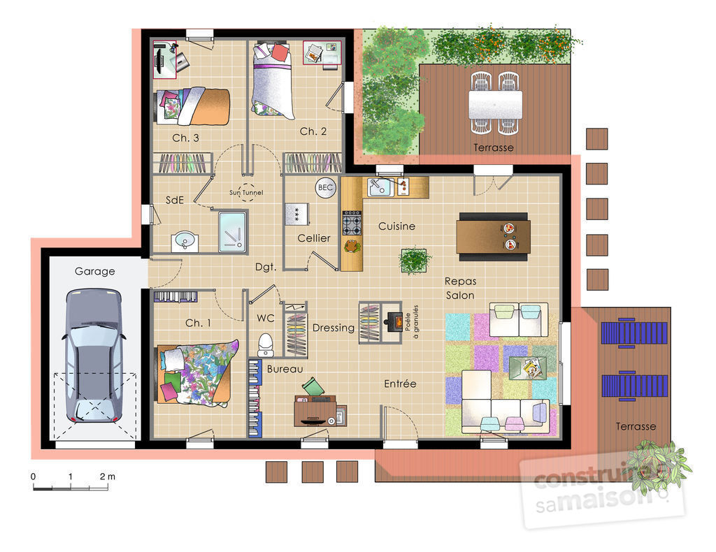 Plan de maison moderne et simple for Maison container 2 chambres
