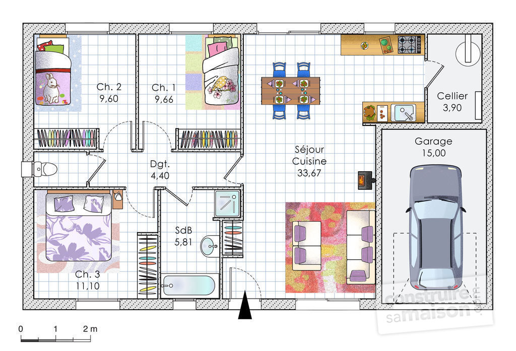 plan maison plain pied garage integre
