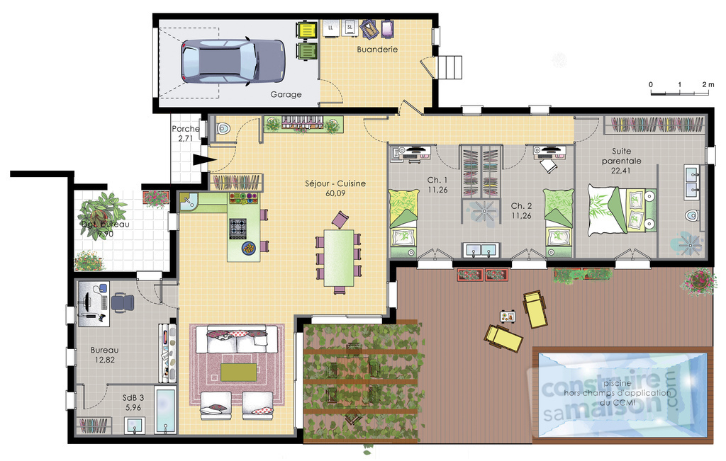 Maison de plain pied 6 d tail du plan de maison de plain for Plan maison suite parentale rdc