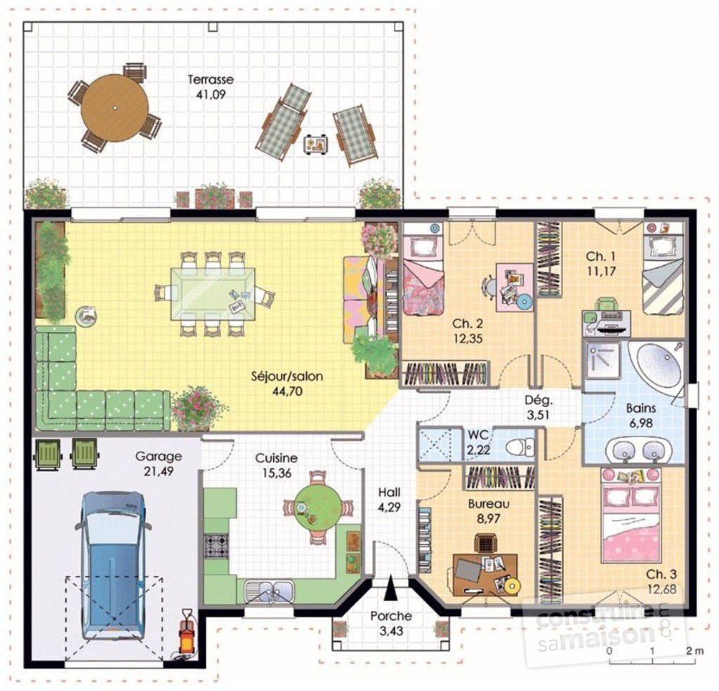 Maison contemporaine 4 d tail du plan de maison for Plan maison plain pied 4 chambres 110m2
