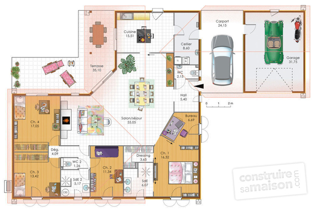 Grande maison de plain pied d tail du plan de grande for Plans de maison services d architecture