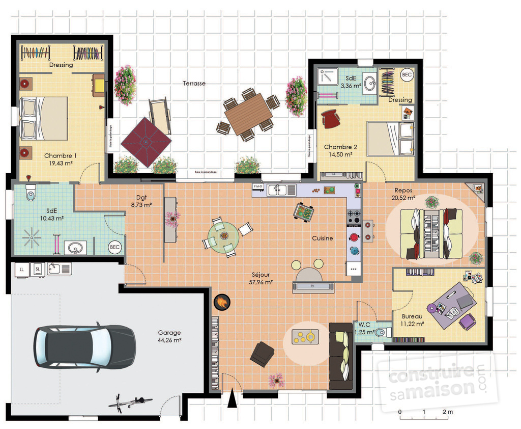 Plan maison plain pied 2 chambres sans garage fk99 for Maison contemporaine plain pied plan