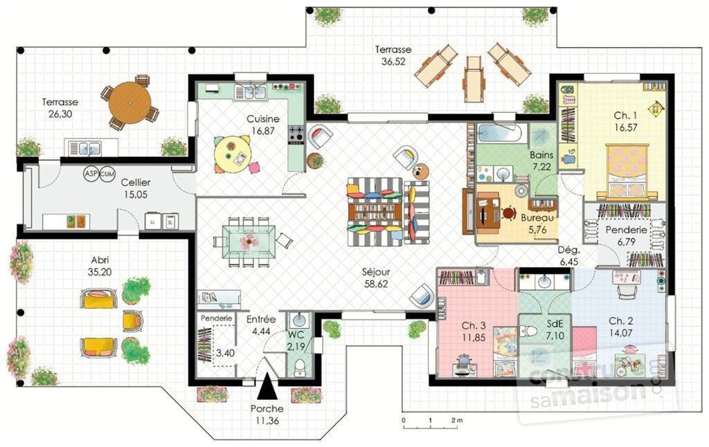 Plan maison plain pied 2 chambres maison moderne for Maison contemporaine plain pied plan