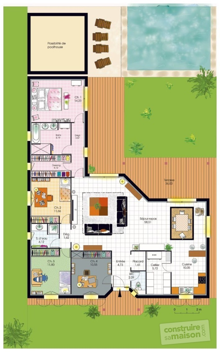Bungalow de luxe d tail du plan de bungalow de luxe for Plan maison plain pied 4 chambres 110m2