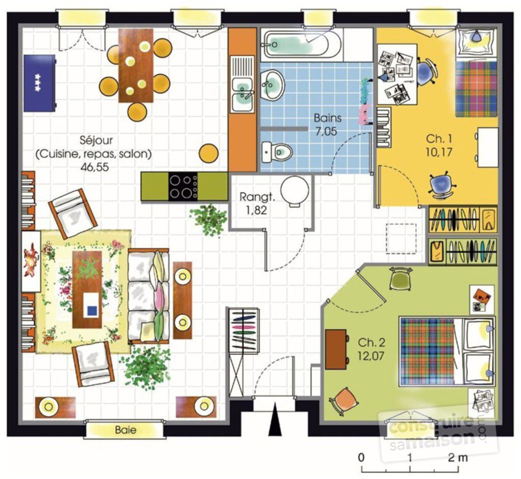 Maison accessible 1 d tail du plan de maison accessible for Plan maison 1 chambre 1 salon