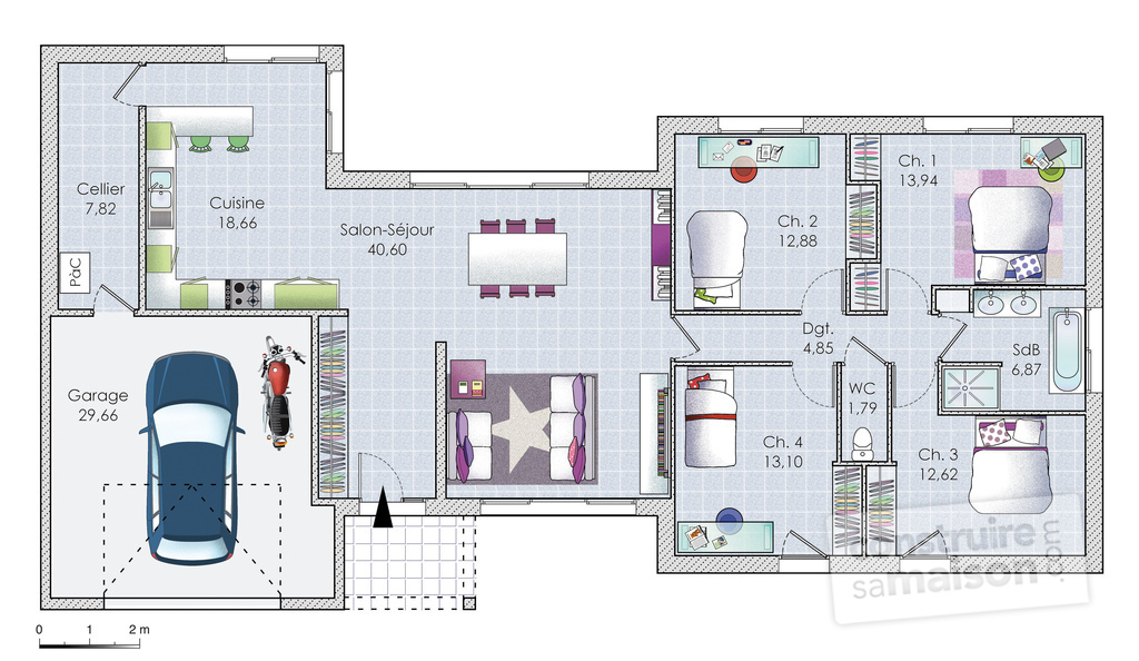 Plan maison f5 for Plan amenagement interieur maison