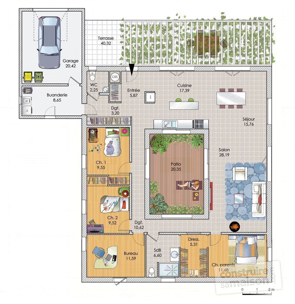Pin plan maison plain pied city construction bbc en on for Plain pied plan