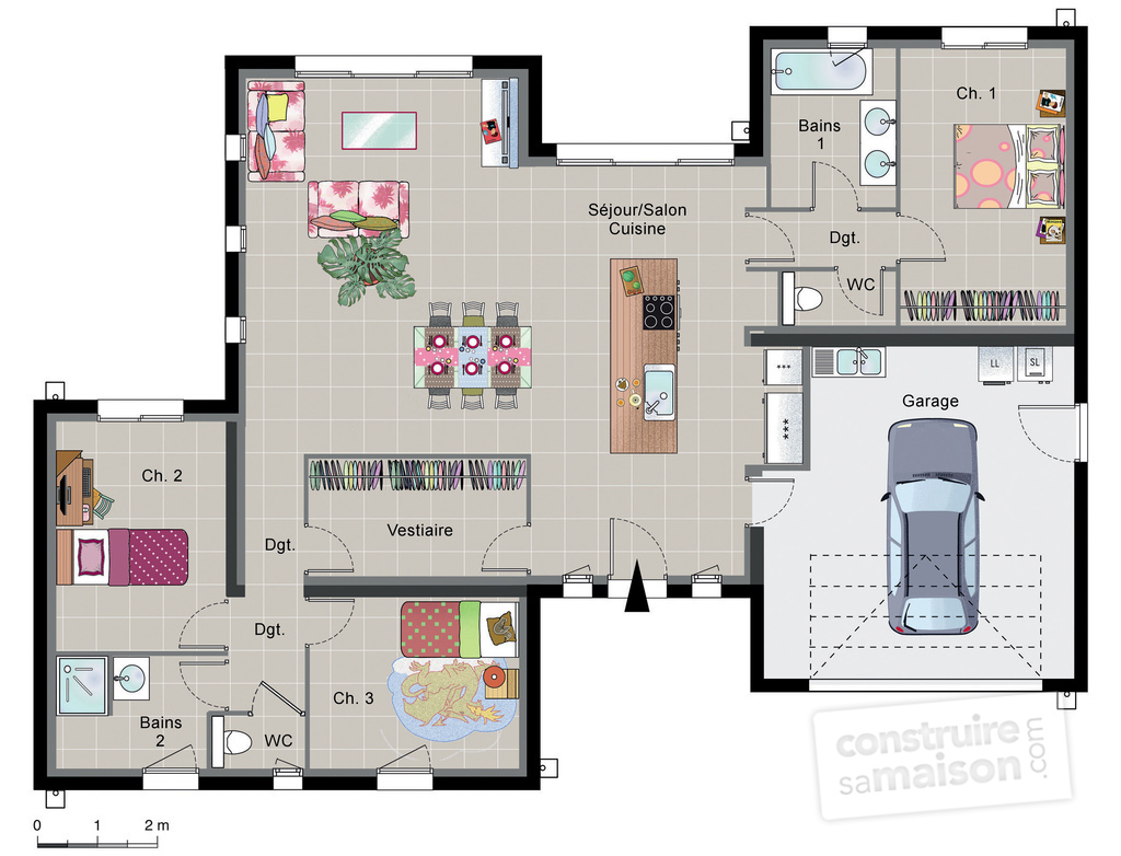 Maison contemporaine de plain pied d tail du plan de for Plan maison en l 3 chambres garage