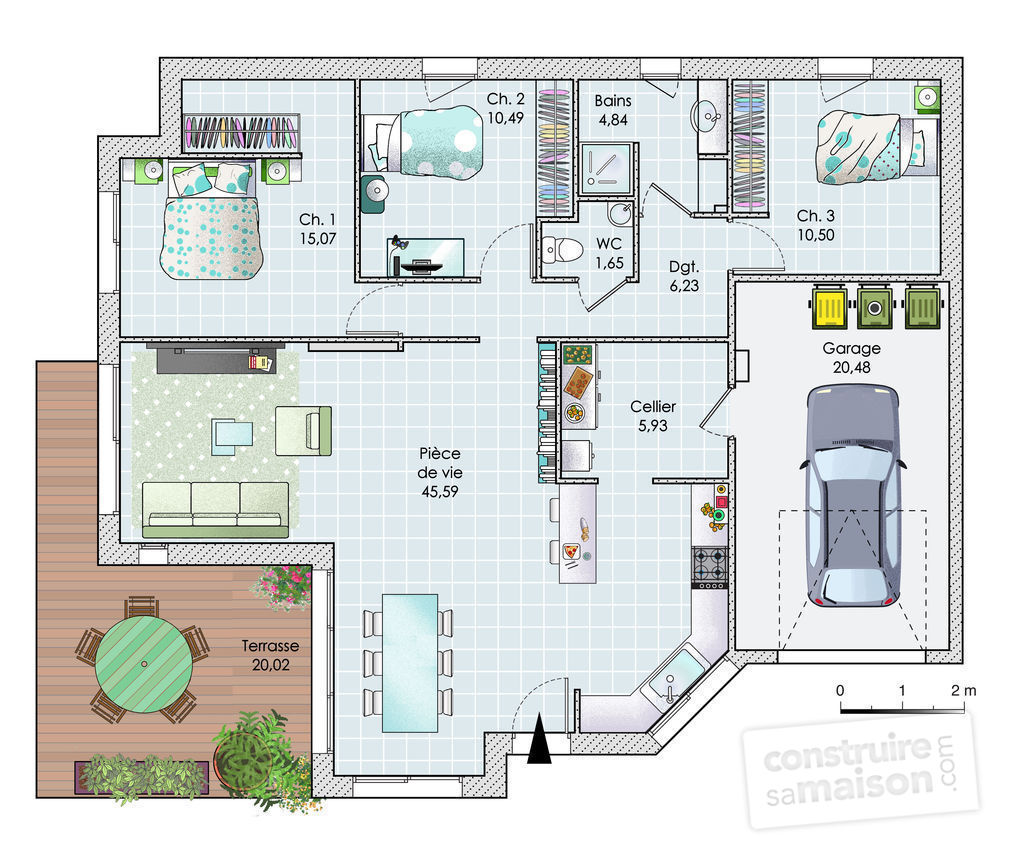 Maison de plain pied en vend e d tail du plan de maison for Maison contemporaine plain pied plan