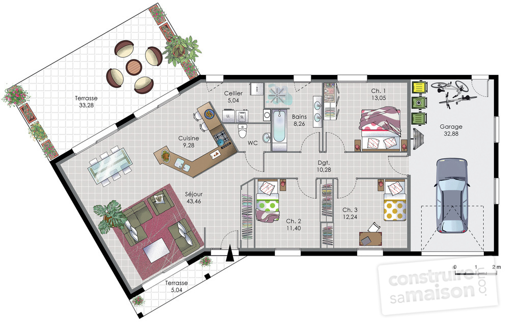 Maison de plain pied 7 d tail du plan de maison de plain for Maison en v