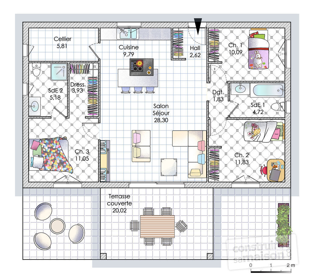 Maison de plain pied en corse d tail du plan de maison for Maison contemporaine plain pied plan