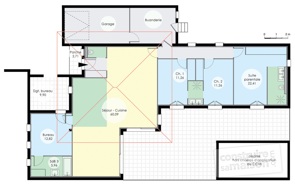 Maison de plain pied 6 d tail du plan de maison de plain for Plan maison mca