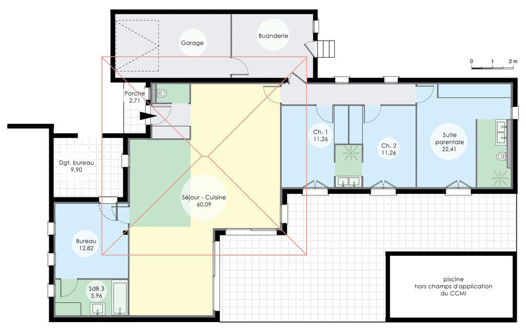 maison de plain pied 6 d tail du plan de maison de plain