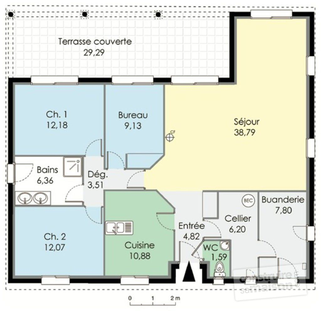 Plan maison 1 chambre plain pied for Catalogue plan maison