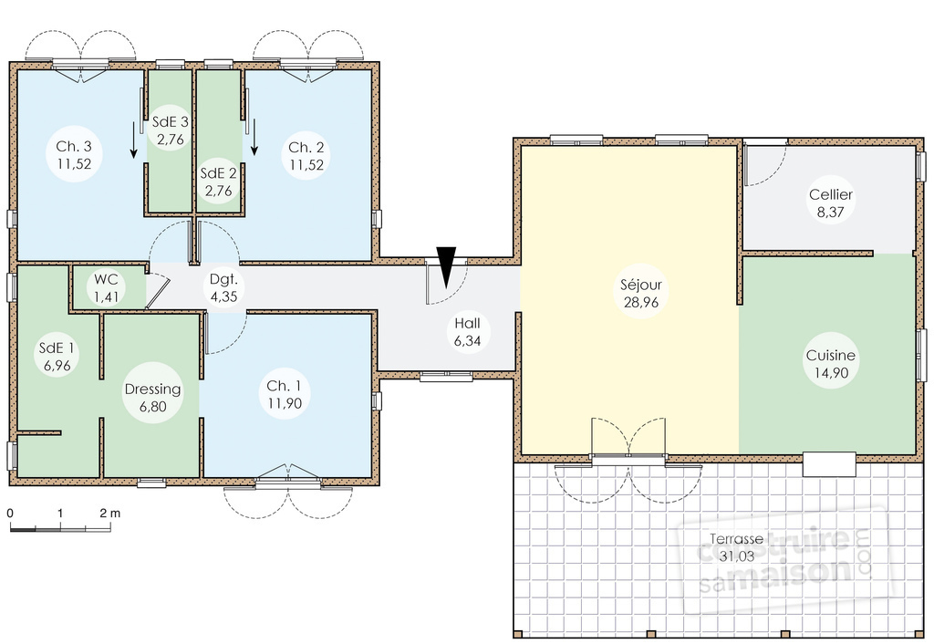Plan de maison en bois plein pied joy studio design for Maison plein pied plan