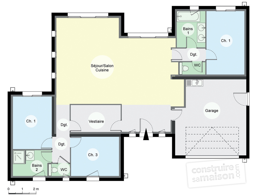 Maison contemporaine de plain pied d tail du plan de for Plan maison en l plain pied 3 chambres