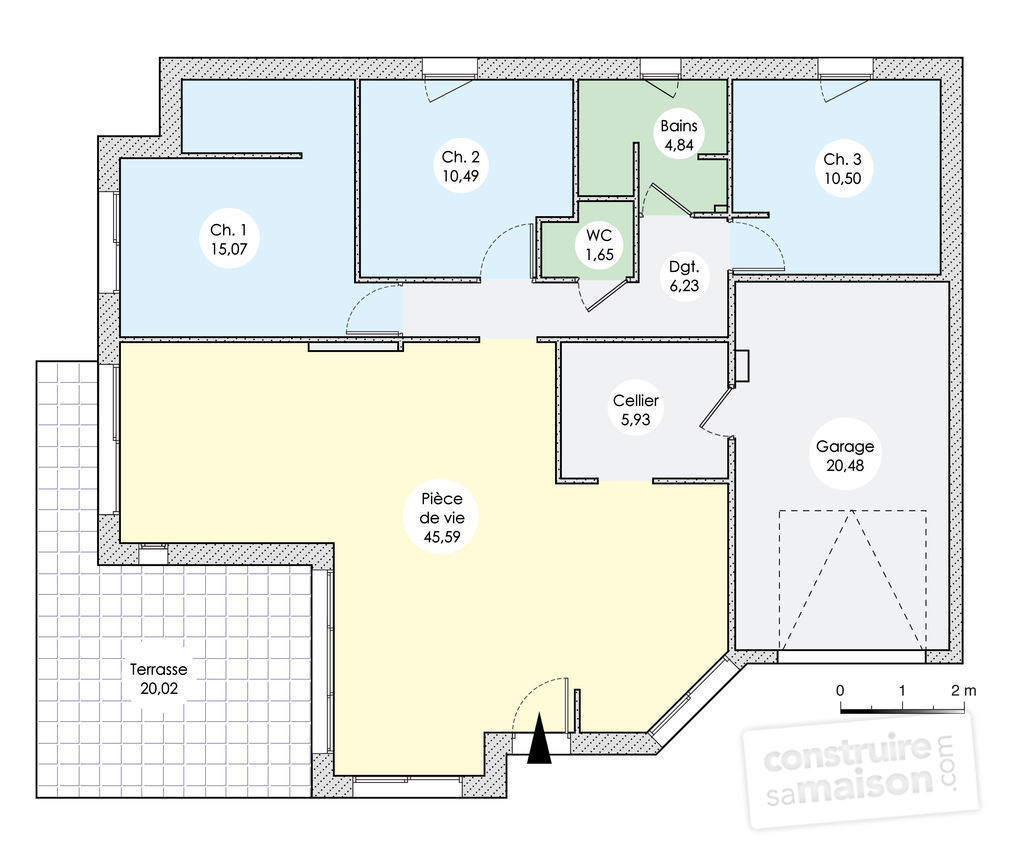 Plan maison 120m2 plain pied pin plan maison plein pied 1 for Plan maison u