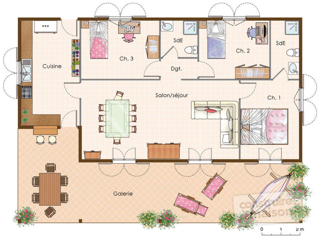 Maison cr ole d tail du plan de maison cr ole faire for Plan de villa style americain