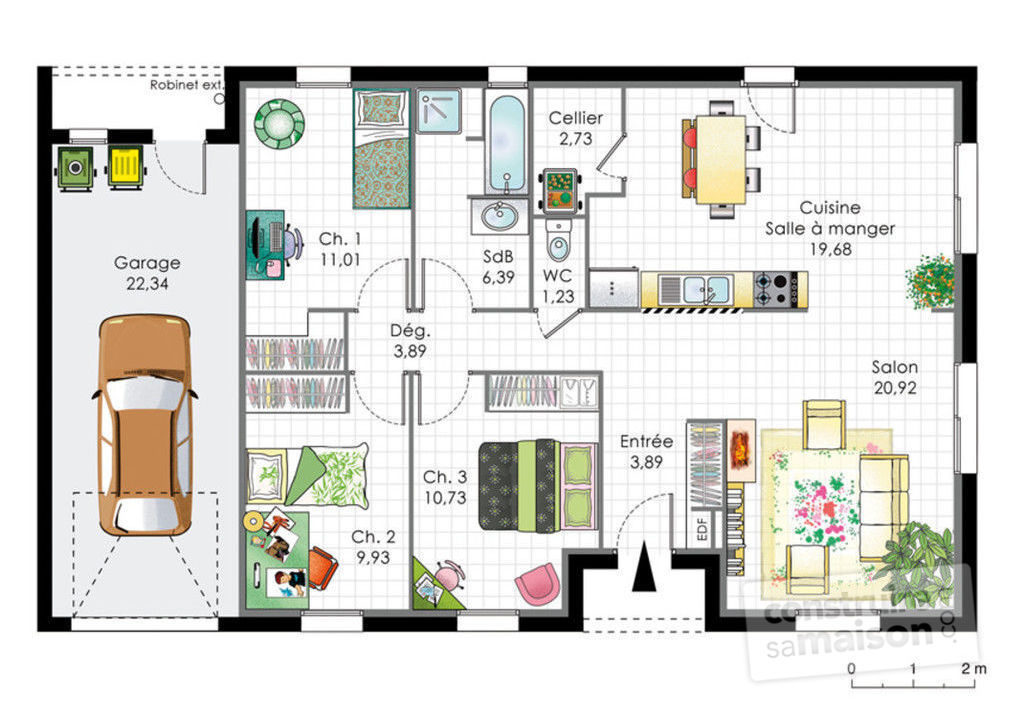 Maison pour primo acc dants 1 d tail du plan de maison for Plan maison contemporaine bbc